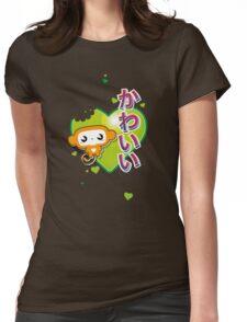 Kawaii Kute Hungry Monkey Green Womens Fitted T-Shirt