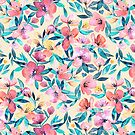 Peach Spring Floral in Watercolors by micklyn