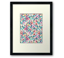 Peach Spring Floral in Watercolors Framed Print