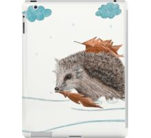 Little Hedgehog Is Hiding From Snow Under Leaves iPad Case/Skin