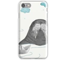 Cute Sea-cow Playing With Origami Paper Boat iPhone Case/Skin