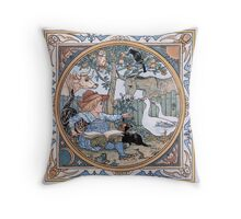 Vintage Walter Crane: The child, the farm animals  Throw Pillow
