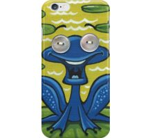 Singing blue frog - acrylic, pearl buttons iPhone Case/Skin
