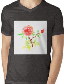 Red Rose Watercolor Mens V-Neck T-Shirt