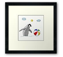 Little Penguin Found Colorful Ball Framed Print