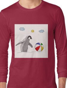 Little Penguin Found Colorful Ball Long Sleeve T-Shirt