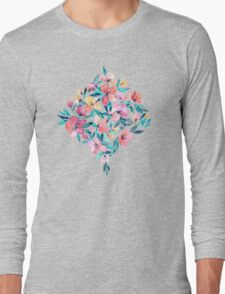 Peach Spring Floral in Watercolors Long Sleeve T-Shirt