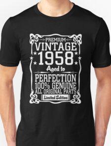 Premium Vintage 1958 Aged To Perfection 100% Genuine All Original Parts T-Shirt
