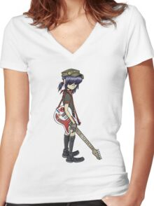 gorillaz noodle Women's Fitted V-Neck T-Shirt