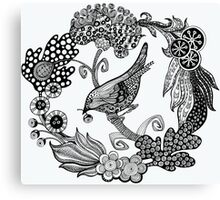 Wreath with flowers and bird.  Canvas Print