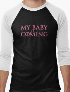 My baby is coming Men's Baseball ¾ T-Shirt