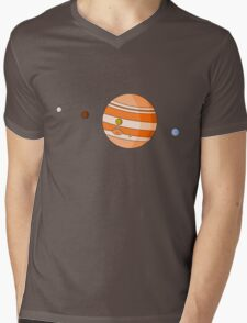 Cartoon Jupiter Planet Mens V-Neck T-Shirt
