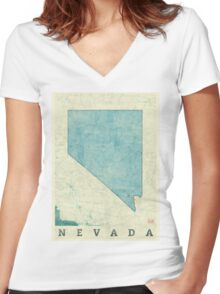 Nevada State Map Blue Vintage Women's Fitted V-Neck T-Shirt