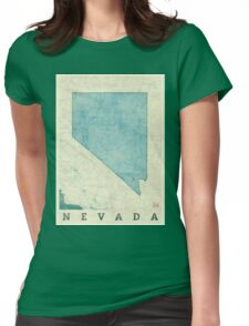 Nevada State Map Blue Vintage Womens Fitted T-Shirt
