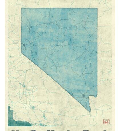 Nevada State Map Blue Vintage Sticker