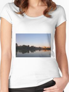 Sunset On The Lake Women's Fitted Scoop T-Shirt