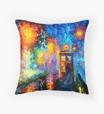 Time Traveller lost in the strange city art painting Throw Pillow