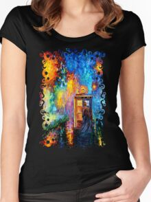Time Traveller lost in the strange city art painting Women's Fitted Scoop T-Shirt