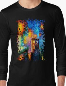 Time Traveller lost in the strange city art painting Long Sleeve T-Shirt