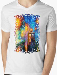Time Traveller lost in the strange city art painting Mens V-Neck T-Shirt
