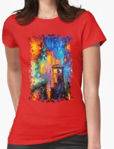 Time Traveller lost in the strange city art painting Womens Fitted T-Shirt