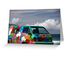 Colourful Transport Hippie Bus Greeting Card