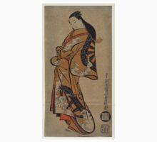Beauty Wearing A Kimono With A Pattern Of Waterwheels In Waves - Dohan Kaigetsudo - 1711 - woodcut Kids Tee