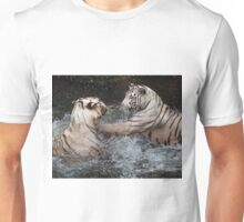 White Tigers Play Fighting Unisex T-Shirt