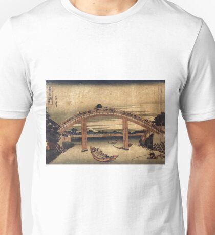 Below Mannen Bridge At Fukagawa - Hokusai Katsushika - 1831 - woodcut Unisex T-Shirt