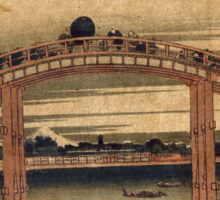 Below Mannen Bridge At Fukagawa - Hokusai Katsushika - 1831 - woodcut Sticker
