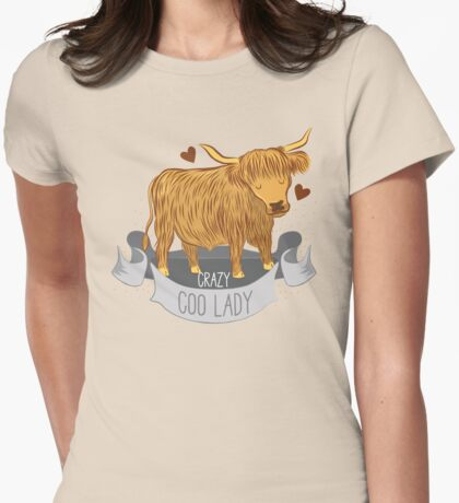 Crazy Coo Lady banner Womens Fitted T-Shirt