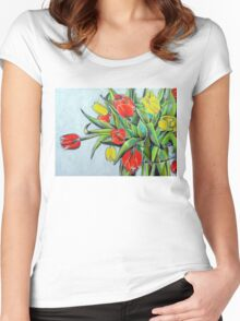 Red and Yellow Tulips Women's Fitted Scoop T-Shirt