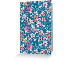 Teal Summer Floral in Watercolors Greeting Card