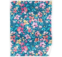 Teal Summer Floral in Watercolors Poster