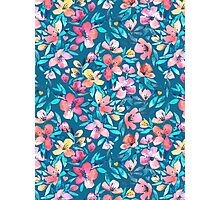 Teal Summer Floral in Watercolors Photographic Print