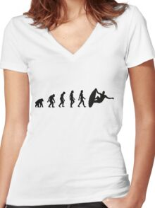 The Evolution of Surfing Women's Fitted V-Neck T-Shirt