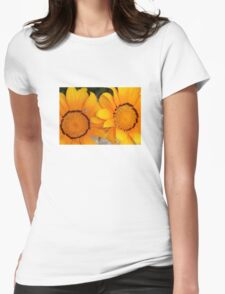 Two Orange Gazania Flowers with Snail Womens Fitted T-Shirt