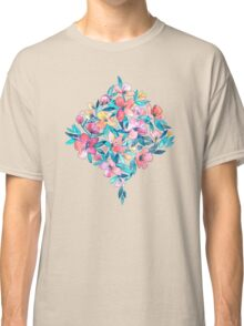 Teal Summer Floral in Watercolors Classic T-Shirt
