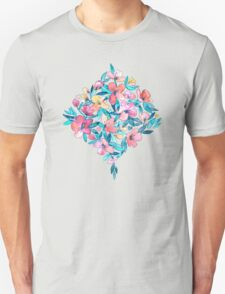 Teal Summer Floral in Watercolors Unisex T-Shirt