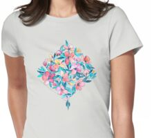 Teal Summer Floral in Watercolors Womens Fitted T-Shirt
