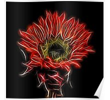 Neon Red Sunflower Poster