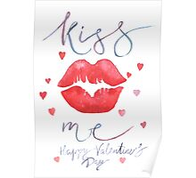 Watercolor lettering Valentine card Poster