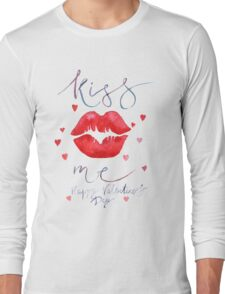 Watercolor lettering Valentine card Long Sleeve T-Shirt