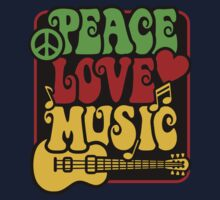Peace, Love, Music in Rasta Colors Kids Tee