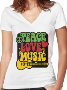 Peace, Love, Music in Rasta Colors Women's Fitted V-Neck T-Shirt