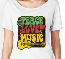 Peace, Love, Music in Rasta Colors Women's Relaxed Fit T-Shirt