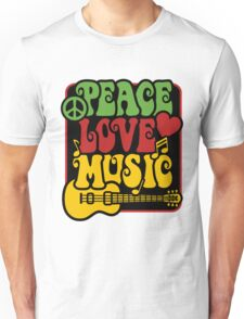 Peace, Love, Music in Rasta Colors Unisex T-Shirt