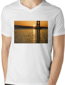 San Francisco Bay Bridge Sunrise Mens V-Neck T-Shirt