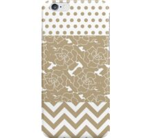Elegant Taupe Flowers, Dots, and Zigzag  iPhone Case/Skin