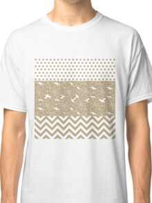 Elegant Taupe Flowers, Dots, and Zigzag  Classic T-Shirt